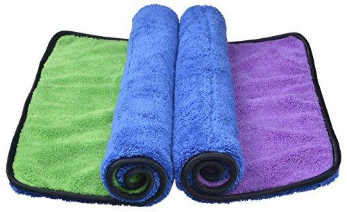 Sinland serviettes microfibre de nettoyage polissage de voiture séchage rapide, ultra épaisse chiffon en voiture épilation à la cire 40x40 cm Bleu /Violet +Bleu /Vert