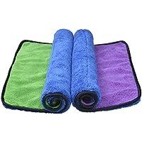 Sinland asciugamani microfibra Ultra Spessa tovagliolo di secchezza Auto lucidatura asciugamano per pulizia 40cmx40cm Blu/Verde+Blu/Viola Confezione da 2