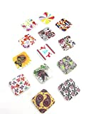 Printed Wooden Buttons , Square Shape , ...