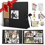 MMTX Álbum de Fotos DIY Scrapbook, 100 Páginas Negras 10'x10' de Fotografías Familiares Colección de Bricolaje Kit de Accesorios para Graduación Bodas Navidad Día San Valentín