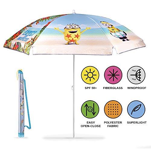 Perletti ombrellone tondo bambino cattivissimo me da spiaggia, mare, giardino e terrazzo - parasole con bob dei minions resistente al vento - diametro 125 cm - protezione contro i raggi uv spf 50+
