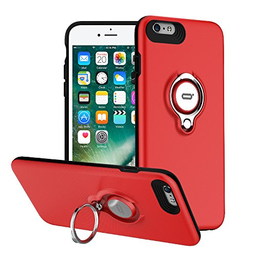 iPhone 6s Hülle, iPhone 6 Tasche mit Ring Ständer von ICONFLANG, 360 Grad drehbarer Ring Grip Case, Dual Layer Stoßfest Schlagschutz für iPhone 6/6s, Kompatibel mit Magnetic Car Mount (Dual-ring-mount)