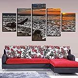 Impresión de Fotos en HD Trabajo Decoración Pared de la Sala de Estar en casa 5 Piezas Playa Amanecer Paisaje Marino Lienzo s Modular Posters Art