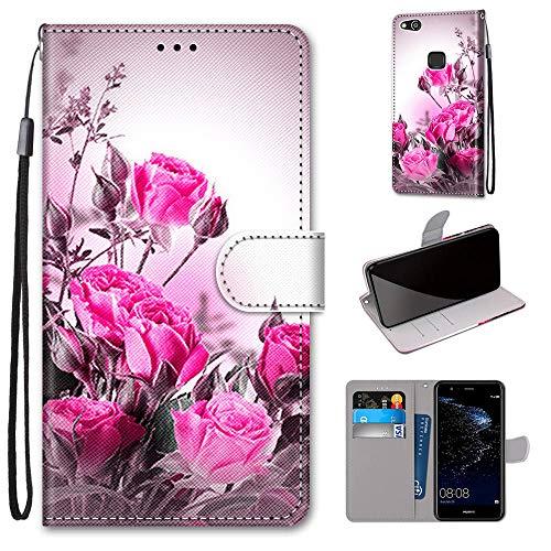 Miagon Flip PU Leder Schutzhülle für Huawei P10 Lite,Bunt Muster Hülle Brieftasche Case Cover Ständer mit Kartenfächer Trageschlaufe,Wild Rose