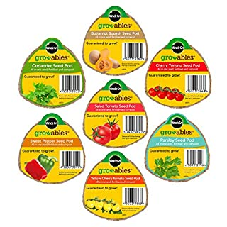 Miracle Gro Set of 7 Gro-ables Seed Pods: Sweet Pepper, Coriander, Salad Tomatoes, Cherry Tomatoes, Butternut Squash, Yellow Cherry Tomatoes & Parsley Seed Pods.