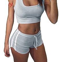 Juegos yoga mujer Bra + Shorts - Juleya traje de deporte mujer Chándal cómodo suave raya Tops Pantalones deportivos Equipo de gimnasia para correr, yoga y ejercicio