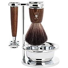 MOLINA - 4-pzs. Set de Afeitado Pelo Puro De Tejón / Maquinilla de afeitar - Serie RYTMO - Mango Madera De Fresno Oscura