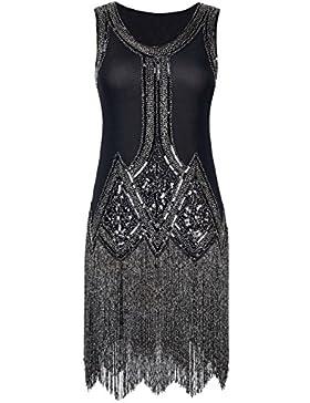 Kayamiya Damen Retro Inspiriert 1920er Paillette Perlen Art Deco Franse Flapper Kleid