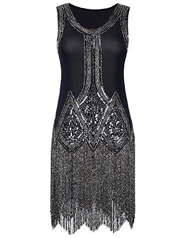 Kayamiya Femmes Retro Inspiré 1920s Perlé Paillettes Art Déco La frange Robe De Flapper Charleston S Noir