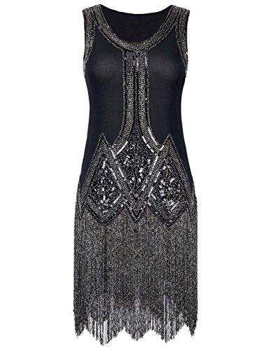 Kayamiya Damen Retro Inspiriert 1920er Paillette Perlen Art Deco Franse Flapper Kleid (Flapper Kostüme Schwarz Perlen)