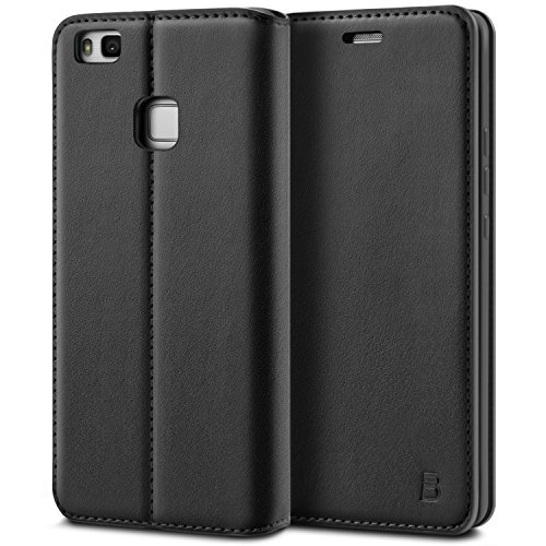 BEZ® Huawei P9 Lite Hülle, Handyhülle Kompatibel für Huawei P9 Lite Tasche, Flip Case Cover Schutzhüllen aus Klappetui mit Kreditkartenhaltern, Ständer, Magnetverschluss - Schwarz