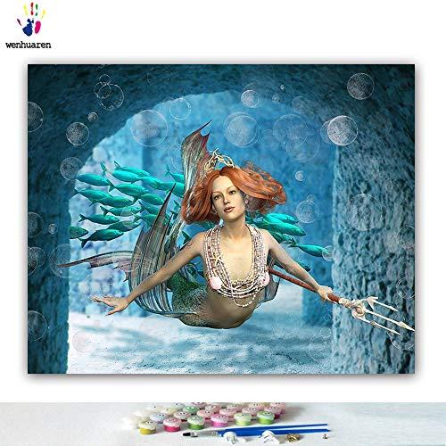 Malen nach Zahlen Kits Ölgemälde für Kinder, Studenten, Erwachsene, Anfänger mit Pinsel und Acryl-Pigment - Seea Creatures Schöne Frau's Sea Legend 16x20 no frame 21808