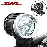 LED Fahrradbeleuchtung Set Fahrradlampen mit Aufladbar akku,Wasserdichte Scheinwerfer Fahrrad Fahrradlicht led lampe batterie licht set Super Hell [ 4000 Lumen ][6400 mAh][3 Modi CREE XM-L T6]