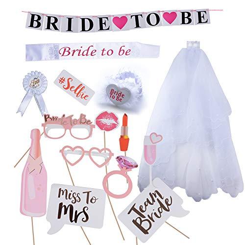 BETESSIN Kit (15pcs) de Novias Accesorios Despepida - 5pcs Velo de Novia + Bride to be Banda Liga...