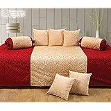 Handtex Home Diwan Set Of 8 Pcs(Content: 1 Single Bed Sheet, 5 Cushion Cover, 2 Bolster, Total - 8 Pcs Set, 100% Cotton) - Maroon-Beige