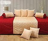 #9: Premium Velvet Diwan Set of 8 Pcs(content: 1 Single Bed Sheet, 5 Cushion Cover, 2 Bolster, Total - 8 Pcs Set) - Maroon-Beige