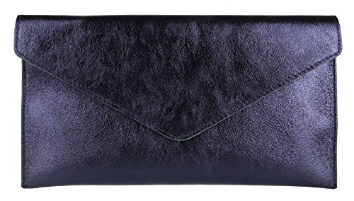 Girly Handbags Echtes Leder Italienische Metallic Shimmer Envelope Wrist Clutch Bag - Echtes Leder Envelope