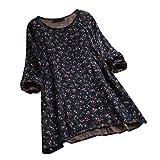 IZHH Plus Size Damen Tops Vintage Blumendruck Lange ÄRmel Oansatz Shirts Tops Floral Lose Casual T-Shirt Bluse(Marine,X-Large)