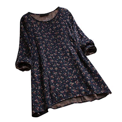 ng Sommer Elegante Damen Frauen Stehkragen Langarm Casual Täglichen Party Strand Urlaub Lose Tunika Tops T-Shirt Bluse(Y3-Marine, EU-40/CN-M) ()