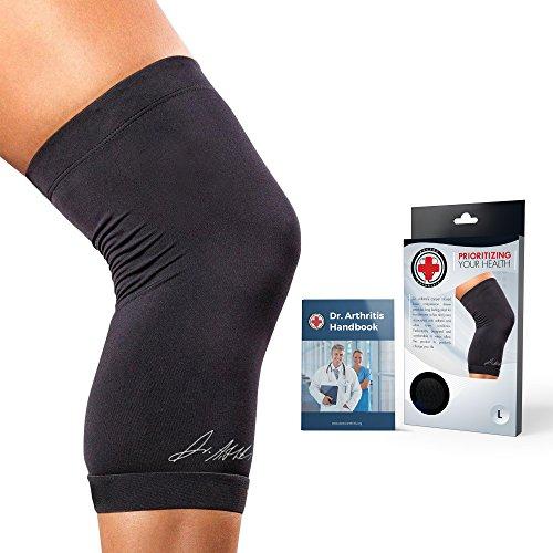 Attelle de compression pour genoux - Développée par les médecins - Imprégnée de cuivre - Genouillère pour soulager l'arthrite, la tendinite, les bursites, les blessures - Course à pied et haltérophilie