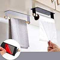 YSHUO Storage Organizer Bathroom Wood Towel Hanger Rack Bar Kitchen Cabinet Cling Film Rag Hanging Holder Toilet Roll Paper Holder Shelf
