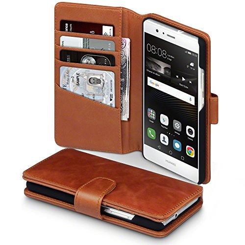 Huawei P9 Lite Cover, Terrapin di Vera Pelle Della Cassa del Raccoglitore per Huawei P9 Lite Custodia Pelle, Colore: Cognac