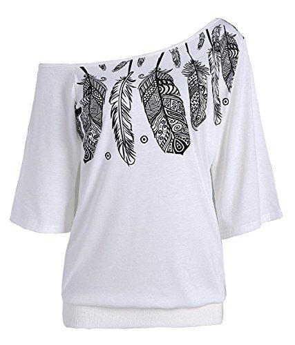 Nawoshow Frauen-Damen Anker Weg von der Schulter Maxi-Slouchy Sweatshirt Pullover Tops Blusen (White)