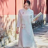 HYW Vestido de Seda de Vestir Pintado a Mano de Gama Alta,Segundo,L