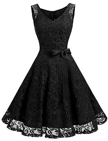 Robe Noir Vintage - Dressystar DS0010 Robe femme soirée/demoiselle d'honneur/bal Col