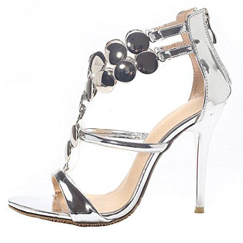 AIYOUMEI Damen Stiletto High Heel Hochzeit Sandalen mit 8cm Absatz Elegant Modern Pumps Schuhe Silber