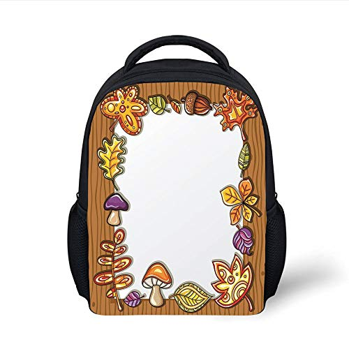 Kids School Backpack Harvest,Frame with Autumnal Nature Symbols on Wooden Background Cartoon Style Foliage,Brown Multicolor Plain Bookbag Travel Daypack