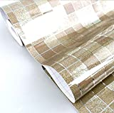 DooXoo - Papel de pared autoadhesivo de aluminio y pl?¢stico resistente al agua con dise?o de azulejos para cocinas y ba?os (45 x 200 cm), pvc, marr?®