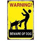 Blechschilder Metallschild WARNING BEWARE OF DOG Wandschilder Aluminium 30cm x 45cm