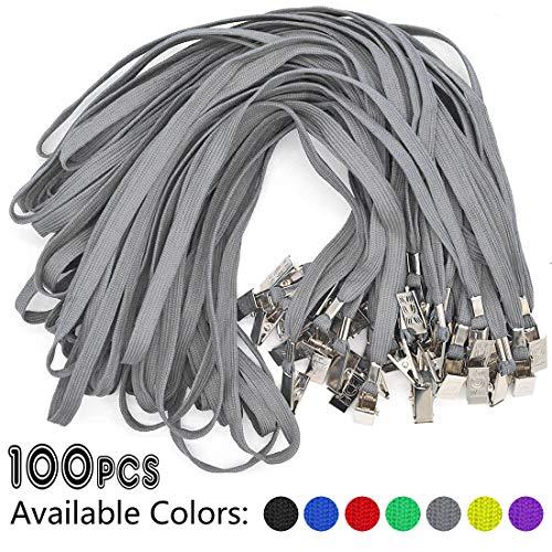 Lanyards Umhängeband mit Clip am Hals und Schlüsselband, Schwarz, 100 Stück 100 Pack grau