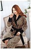 Fortuning's JDS® Winter Flanell Bademantel Nacht Robe für Frauen, Leopardenmuster