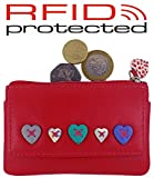 Ladies Small Leather RFID Blocking Coin, Key & Credit Card Purse With Heart Design (Raspberry)