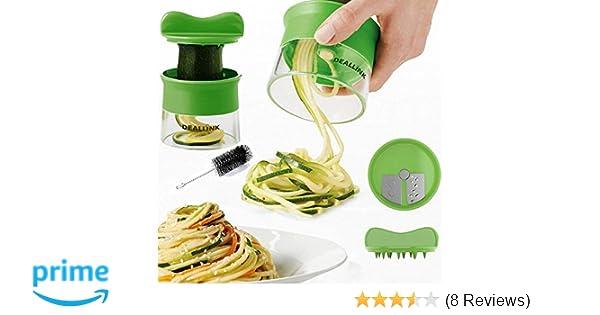Deallink Vegetable Spiralizer Non Slip Hand Held Vegetable Cutter Spiral Slicer For Noodles Zucchini Beet Cucumber Spaghetti Pasta Makerwith