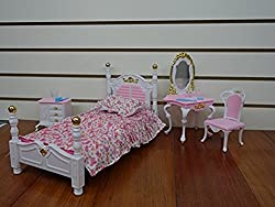 Barbie Size Dollhouse Furniture- Bed Room & Beauty Play Set