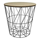 Design Metalltisch schwarz rund Metallkorb mit Holzdeckel Tisch Beistelltisch
