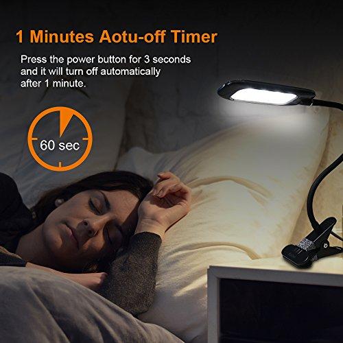 Recbot-Lmpara-Escritorio-LED-Lmpara-con-Pinza-2000-mAh-Batera-de-Litio-Recargable-con-USB-Color-Regulable-Desde-3000K-hasta-6500K-3-Modos-11-Niveles-de-Brillo-para-estudiar-Trabajar-Dormir-etc