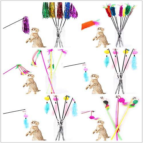 ZYUEER Jouets à Plumes Lot De 6 Plumeaux avec Clochettes Jouet à Plume pour Chat Couleur AléAtoire Pas Cher (Multicolore)