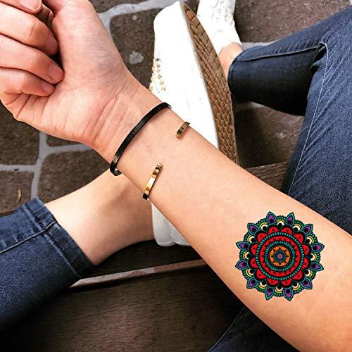Couleur mandala autocollant de faux tatouage temporaire (Lot de 2) - www.ohmytat.com