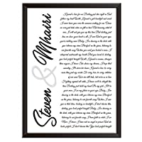 Framed Occasions Personalised Song Lyrics Wall Art Print Decor - PERFECT by ED SHEERAN - wedding, first dance, Christmas keepsake for love couples, husband, wife. Wall posters/picture A2, A3, A4