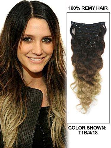 50,8 cm 9 pièces Body Wave Ombre à clipser Cheveux naturels indiens Remy Extension Couleur Noir/Brun/Blond Foncé, poids total : 110 g