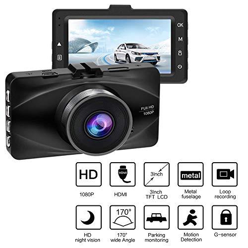 MIMI KING Dash Cam, FHD 1080P, 170 Grad Weitwinkel-Objektiv, 3-Zoll-Bildschirm, G-Sensor, Parküberwachung, Bewegungserkennung, Loop-Aufnahme, Metall-Rumpf mit 32G-Speicherkarte,Black