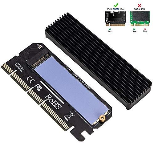 X4 Mit X8-steckplatz (QNINE NVME Adapter PCIe x16 mit Kühlkörper, M.2 Festplatten Key M to PCI Express Erweiterungskarte, Unterstützung PCIe x4 x8 x16 Slot, Unterstützung 2230 2242 2260 2280)