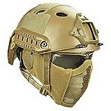 QZY Casco Protector Airsoft Paintball, Cascos Tácticos con Máscara de Malla de Acero Juego CS Juego de 8 Colores,T