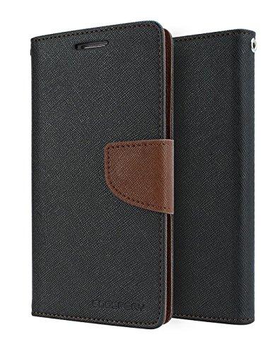 DW Mercury Fancy Diary CARD Wallet Flip Case Back Cover for Micromax Canvas Nitro 2 E311 ( Black+Brown )