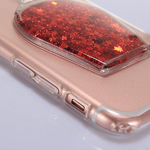 """iPhone 7 Handyhülle, iPhone 7 Liquid TPU Case, CLTPY Kreativ 3D Fließen Flüssig Bling Schwimmend Treibsand Herz, Glanz Shiny Kristallklar Schale Etui für 4.7"""" Apple iPhone 7 + 1 x Stift - Dunkelblau Roter Stern"""