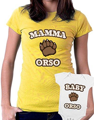 t-shirt e body festa della mamma - Mamma orso, Baby orso -tutte le taglie uomo donna maglietta by tshirteria giallo